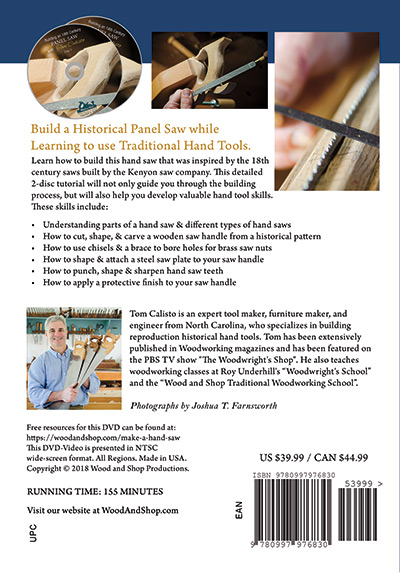 Rear DVD cover of Make an 18th Century Panel Saw with Tom Calisto