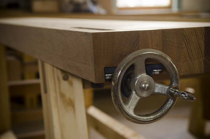 Moravian workbench laminated oak top and wagon tail vise