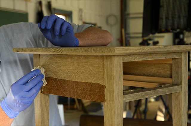 adding finish to a Shaker end table in figured white oak with ammonia fuming for woodworking plans