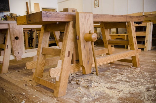 A Portable Moravian Workbench in Roy Underhill's Woodwright's School buy moravian workbench plans for this diy workbench