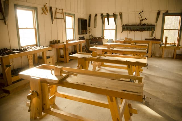 A Row of Portable Moravian Workbenches buy Moravian Workbench Plans