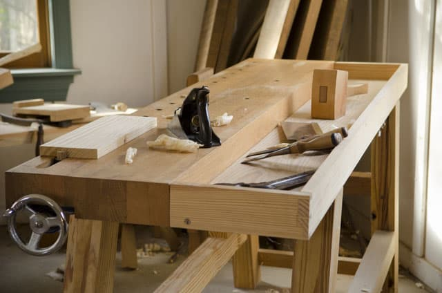 Moravian Workbench Plans: Portable Moravian Workbench with handplane, chisels, and other hand tools for woodworking