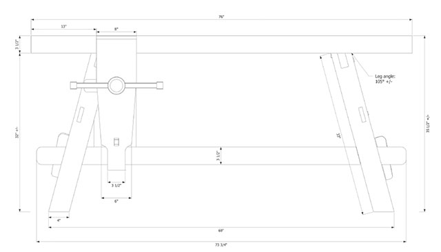 Plans for the portable Moravian Workbench