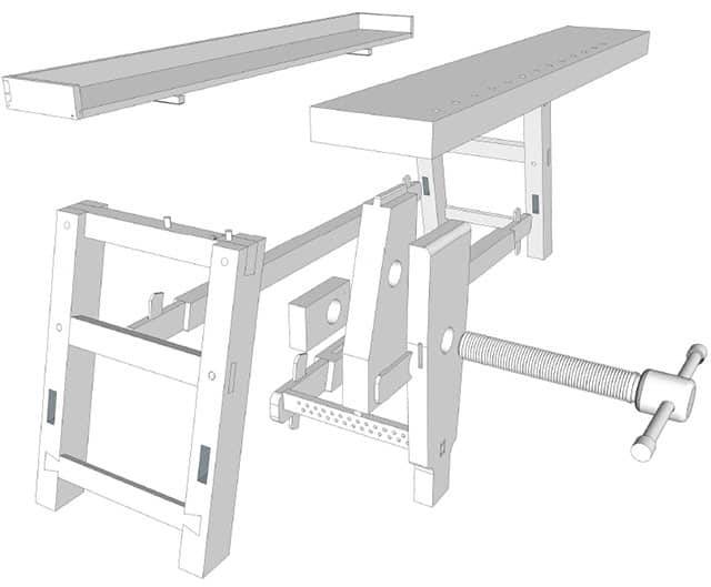 Moravian Workbench plans diy workbench exploded view